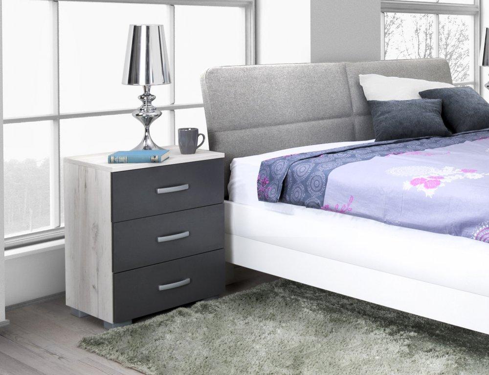 Noční stolek Matis 3F - dub sněhový/antracit
