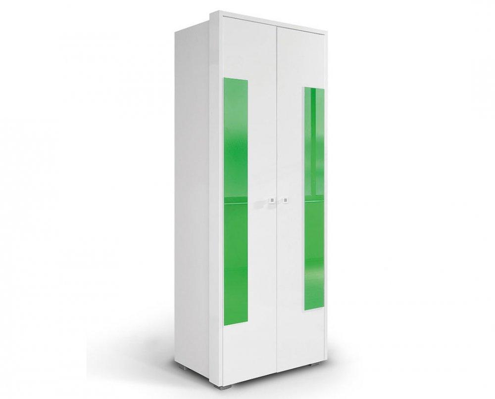 Skříň HAPPY O2V2F - bílá/zelená