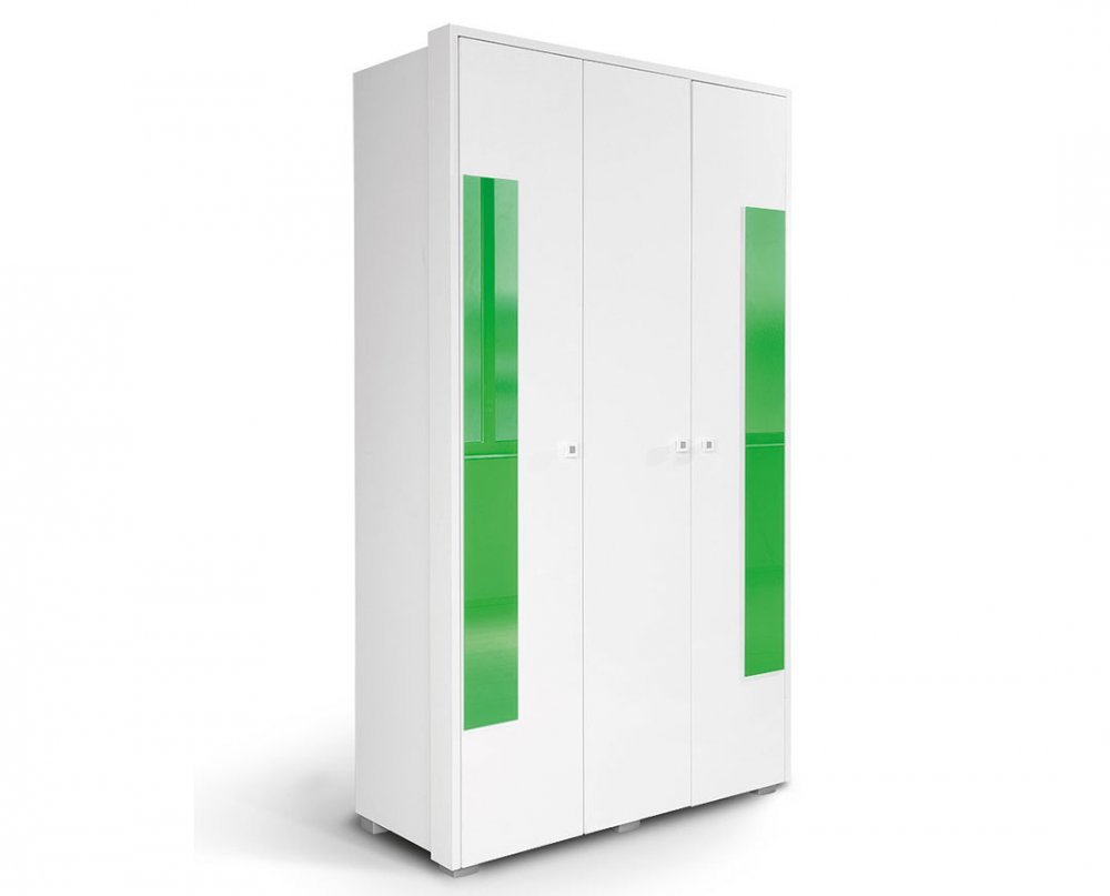 Skříň HAPPY O3V2F - bílá/zelená