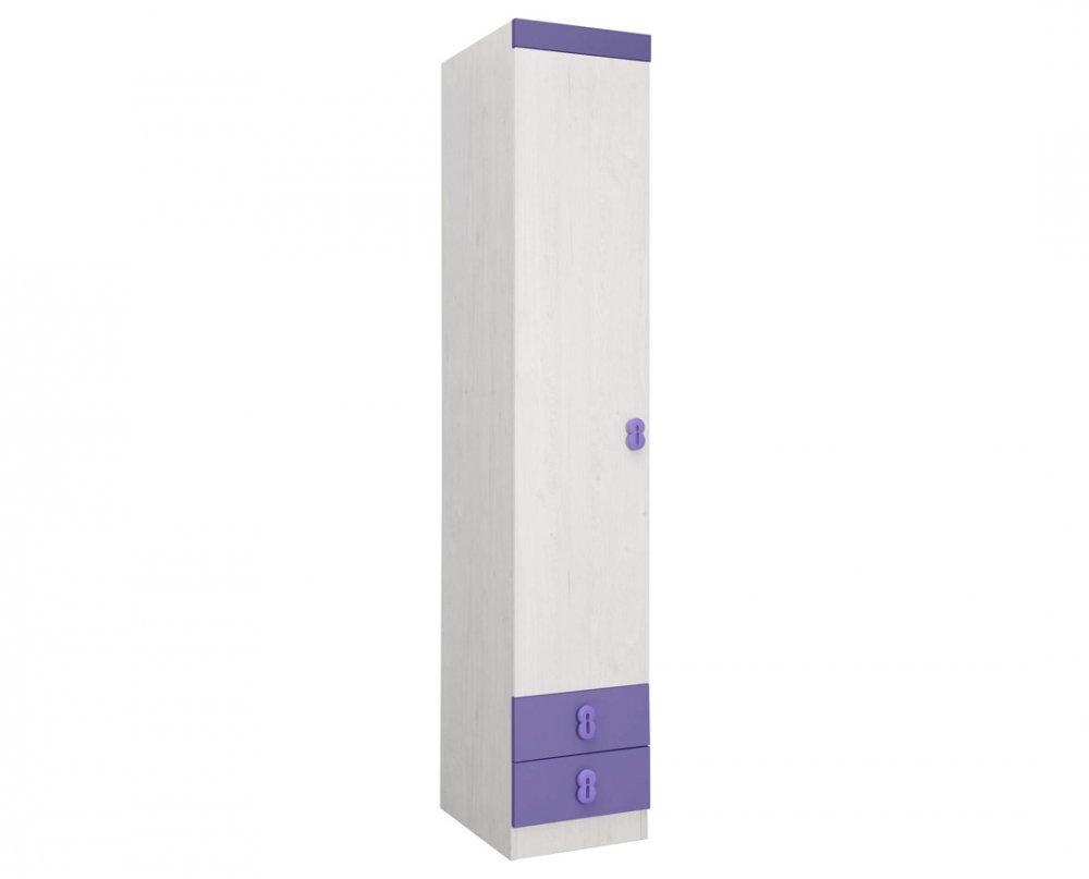 Skříň Numero O1V2F - dub bílý/fialová