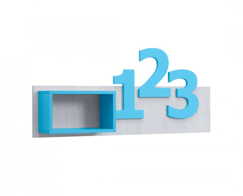 Police Numero číslice  - dub bílý/modrá