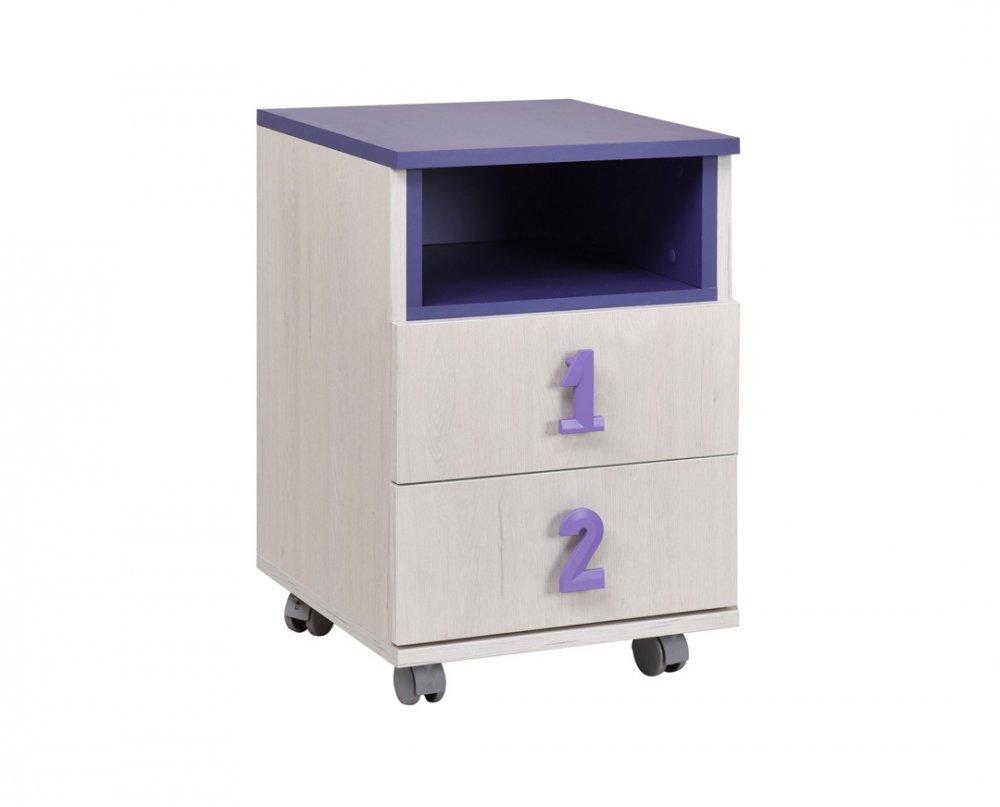 Komoda Numero 2F - dub bílý/fialová