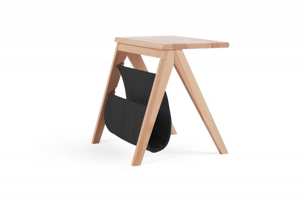 Noční stolek PUCH - 866 (masivní  buk, černá kapsa)