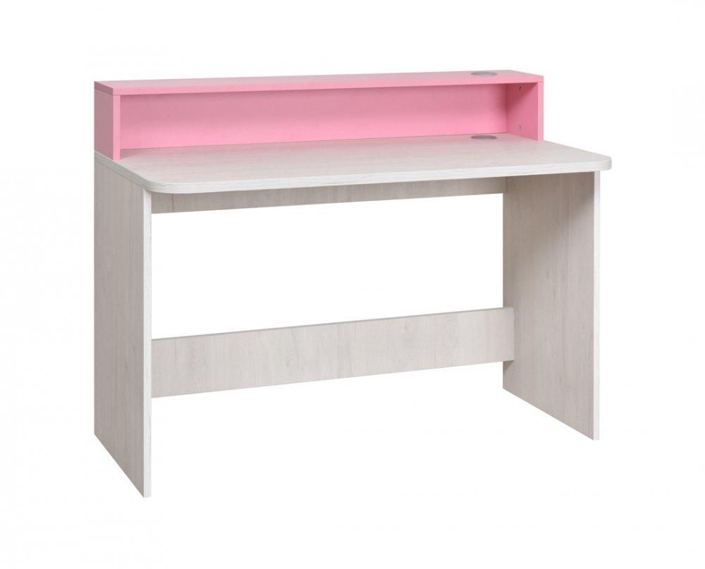 PC stůl Numero - dub bílý/růžová