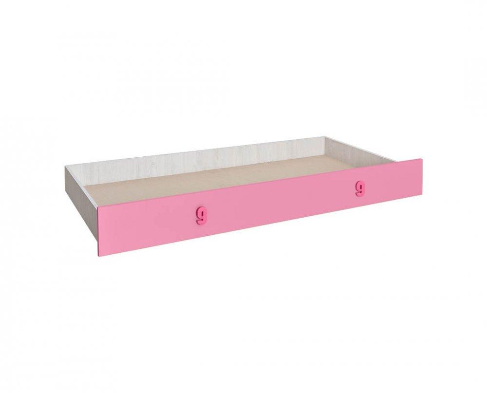 Zásuvka pod postel Numero - dub bílý/růžová