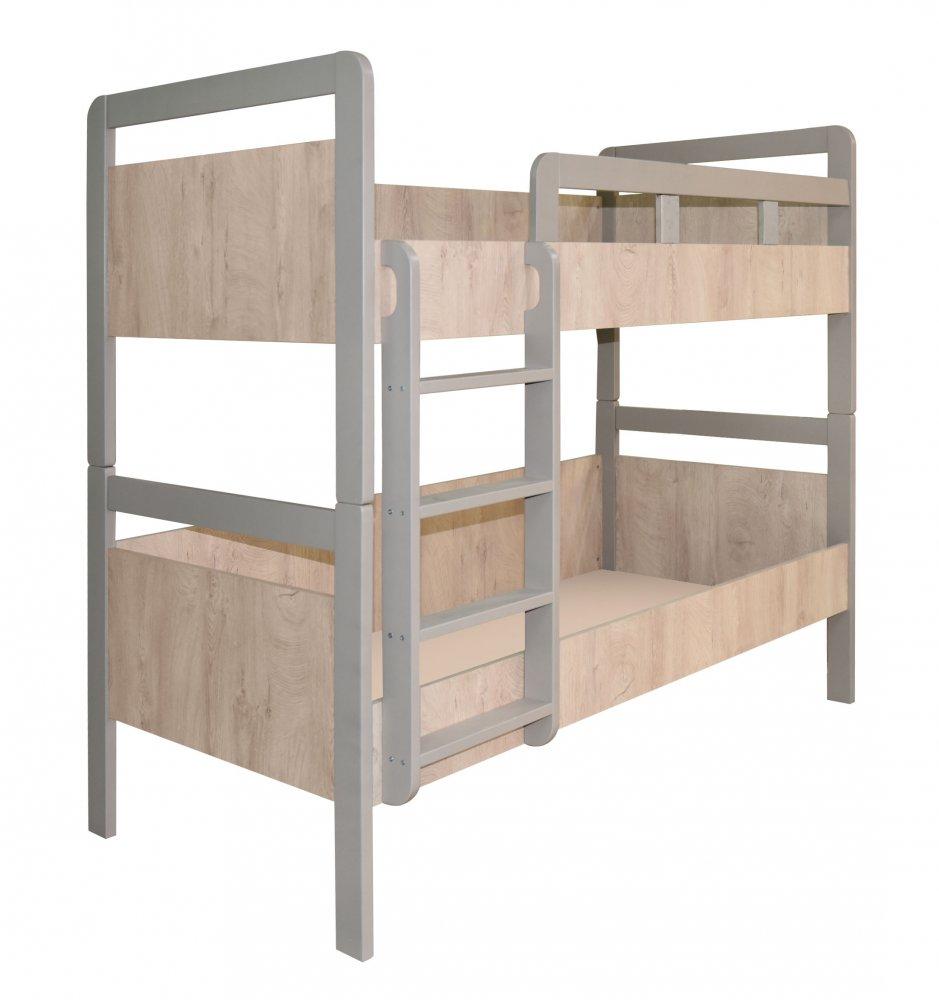 Patrová postel Kinder - dub šedý