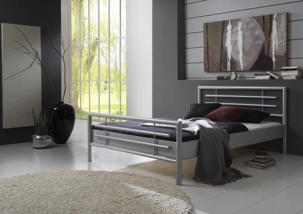 Dvoulůžková postel SATURN - NICOLE (stříbrná)