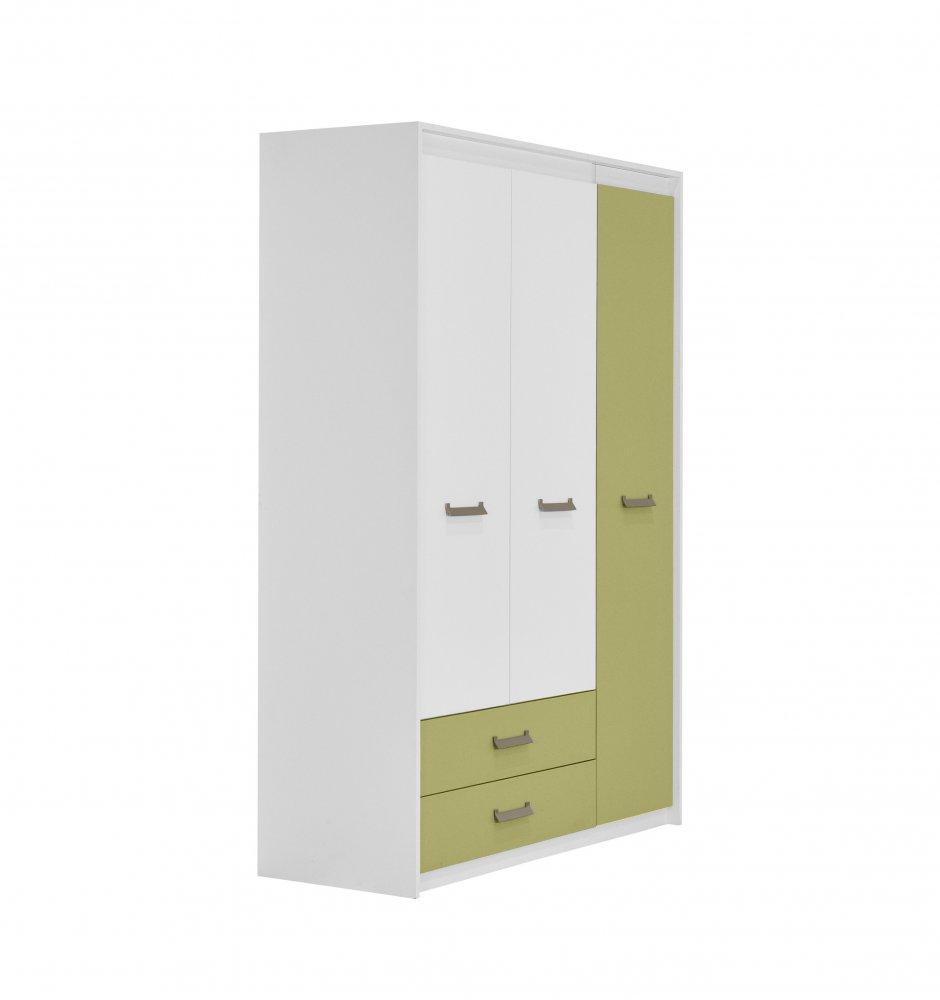 Dětská skříň Kinder 3V2F - bílá/zelená