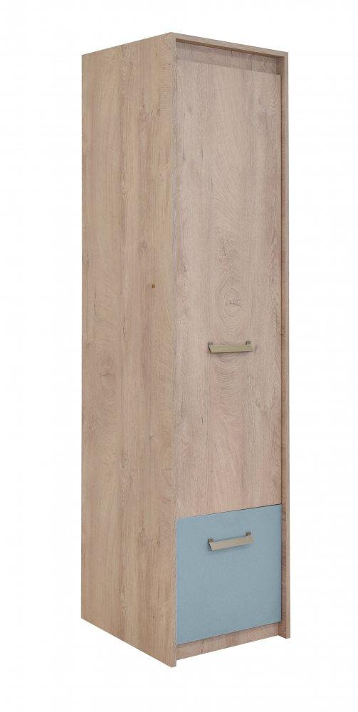 Skříň Kinder 1V1F - dub šedý/modrá