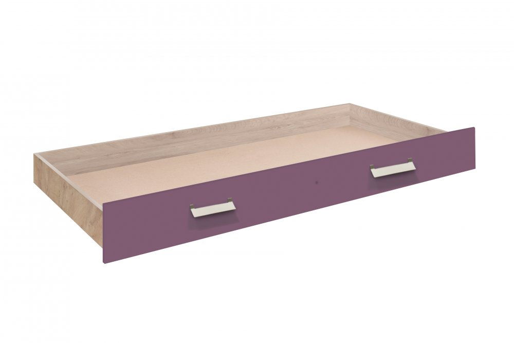 Zásuvka postele Kinder - dub šedý/fialová