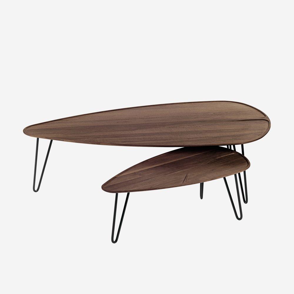 Konferenční stolek MALIN - kovové nožičky (ořech)