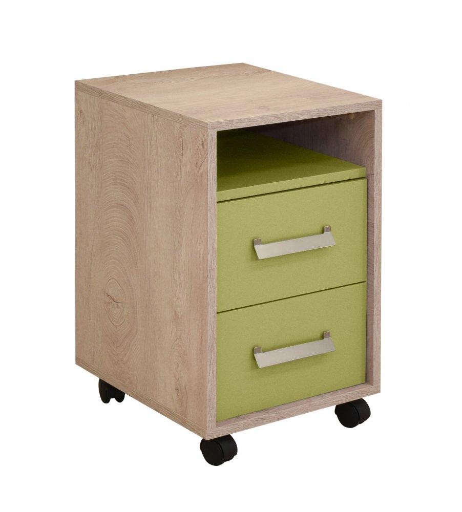 Noční stolek Kinder - dub šedý/zelená